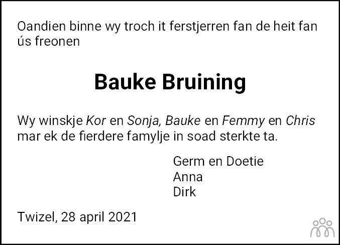 Overlijdensbericht van Bauke Bruining in De Feanster