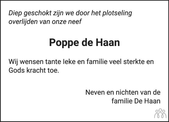 Overlijdensbericht van Poppe de Haan in Drachtster Courant