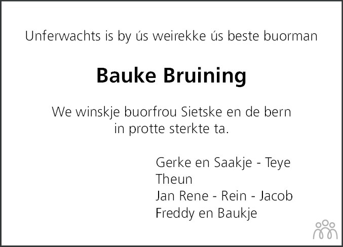 Overlijdensbericht van Bauke Bruining in Dockumer Courant