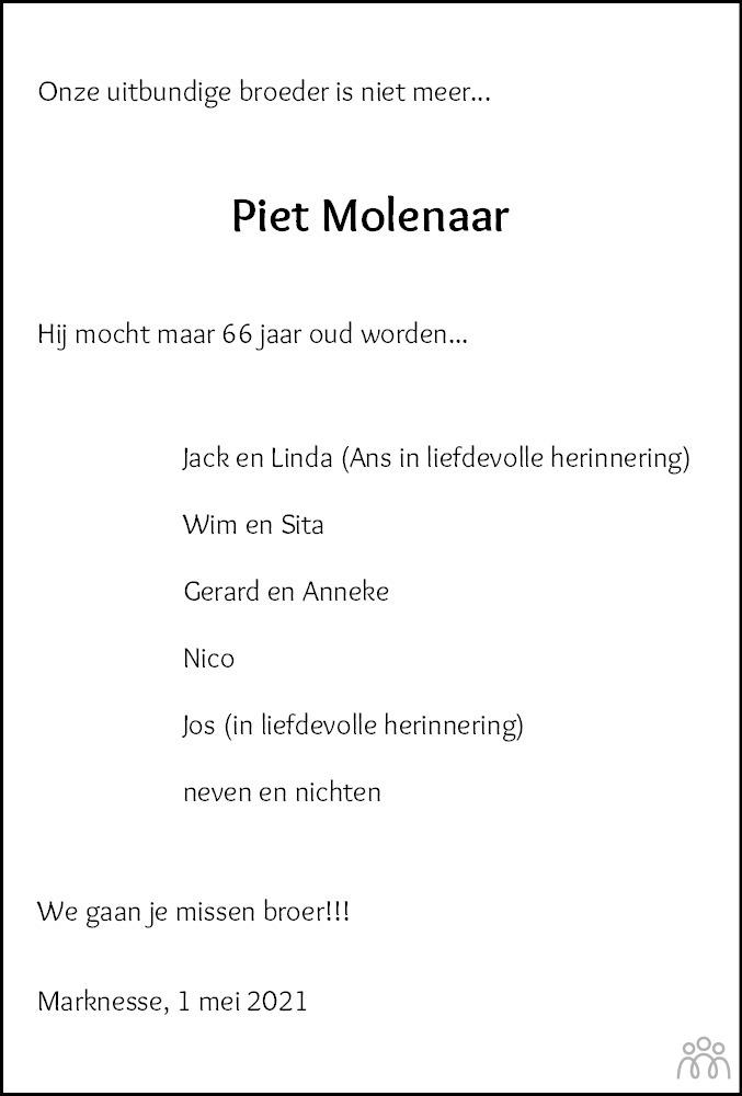 Overlijdensbericht van Piet Molenaar in Noordoostpolder