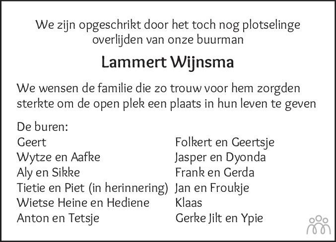 Overlijdensbericht van Lammert Wijnsma in Dockumer Courant