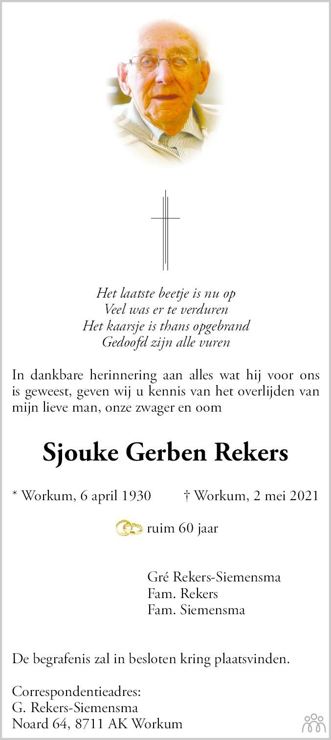 Overlijdensbericht van Sjouke Gerben Rekers in Leeuwarder Courant