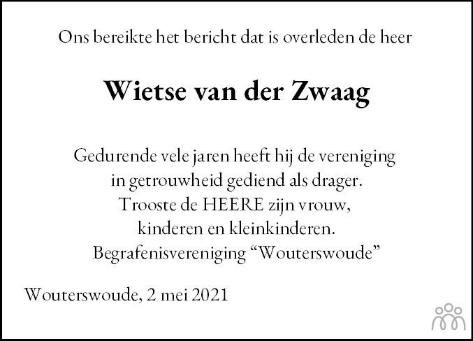 Overlijdensbericht van Wietse van der Zwaag in Dockumer Courant