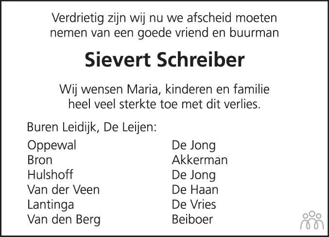 Overlijdensbericht van Sievert Schreiber in Drachtster Courant
