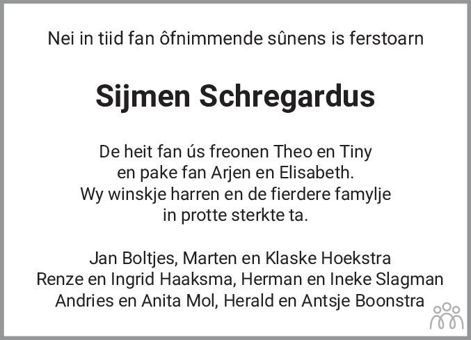 Overlijdensbericht van Sijmen Schregardus in Dockumer Courant