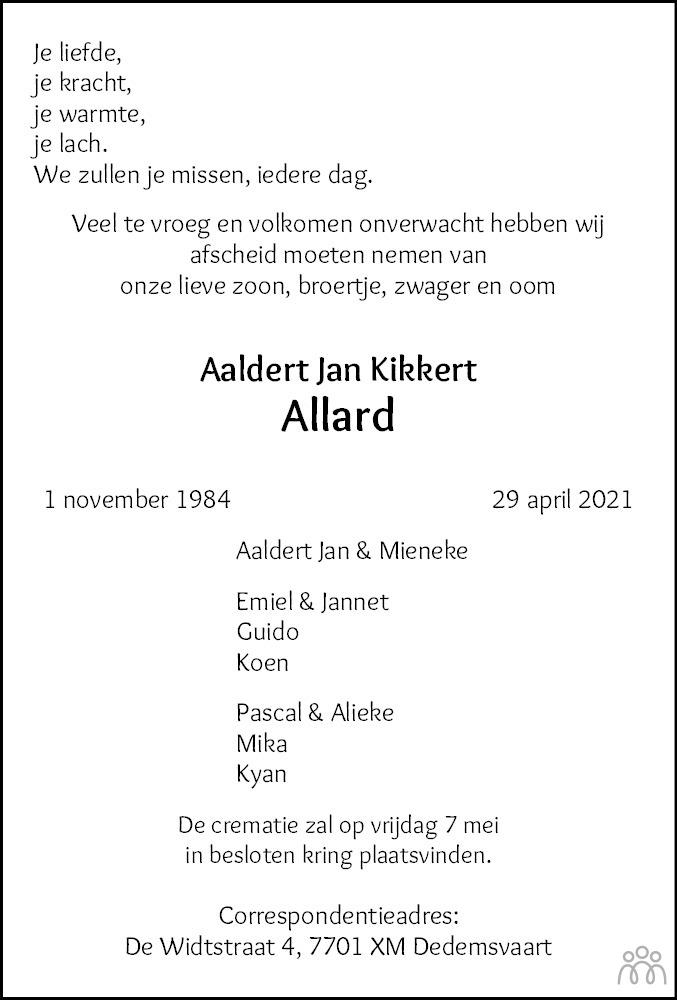 Overlijdensbericht van Allard (Aaldert Jan) Kikkert in Hoogeveensche Courant