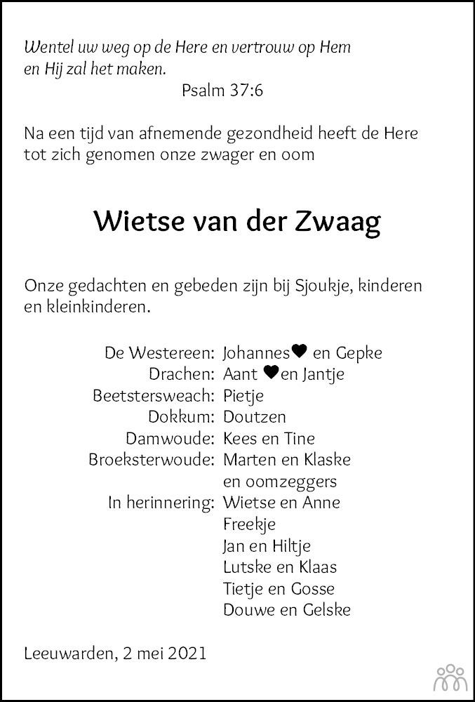 Overlijdensbericht van Wietse van der Zwaag in Friesch Dagblad
