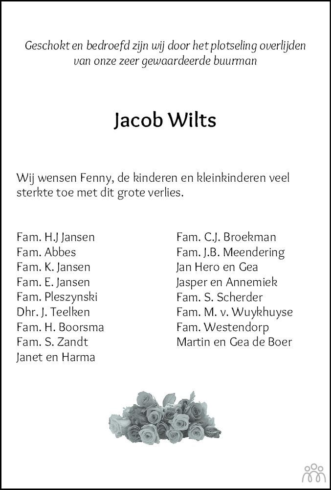Overlijdensbericht van Jacob (Job) Wilts in Dagblad van het Noorden