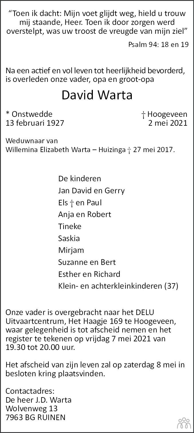 Overlijdensbericht van David Warta in Hoogeveensche Courant