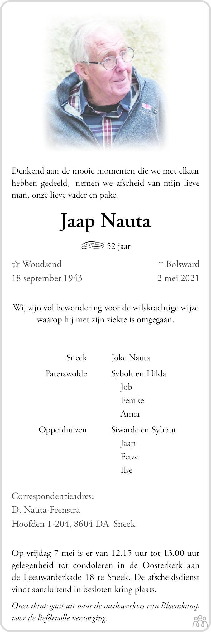 Overlijdensbericht van Jacob (Jaap) Nauta in Leeuwarder Courant