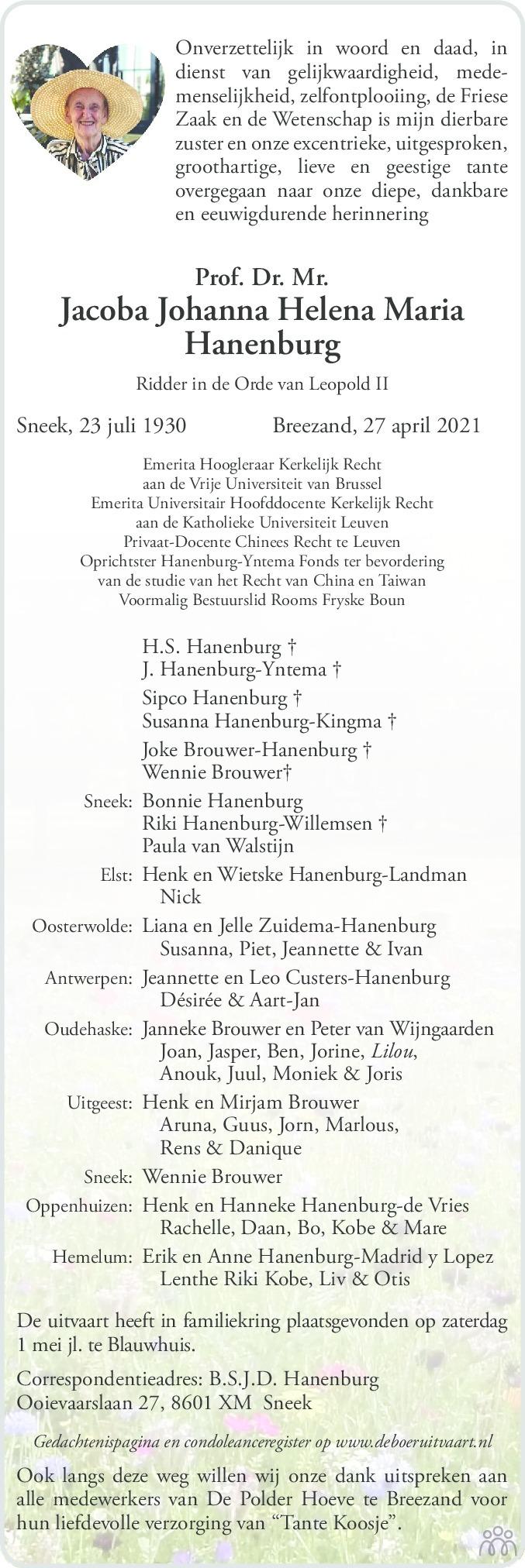 Overlijdensbericht van Jacoba Johanna Helena Maria Hanenburg in Sneeker Nieuwsblad