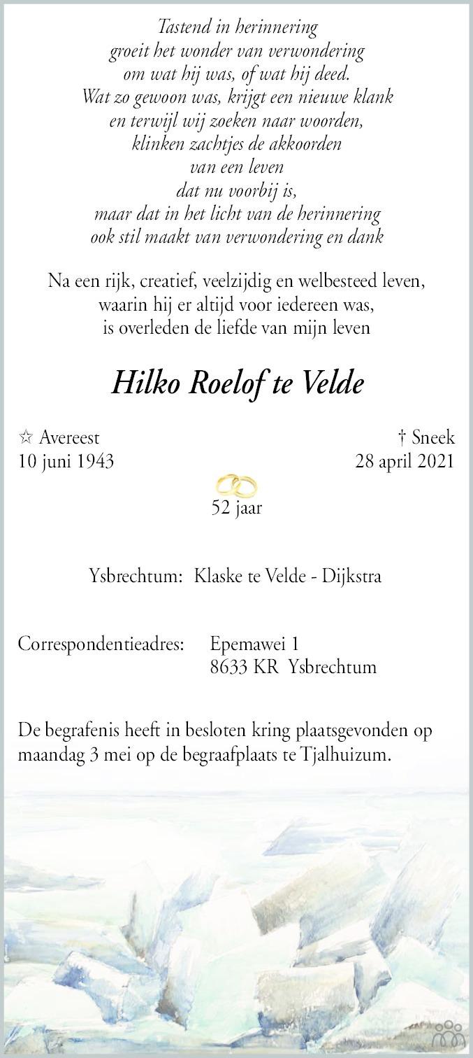 Overlijdensbericht van Hilko Roelof (Hilco) te Velde in Sneeker Nieuwsblad