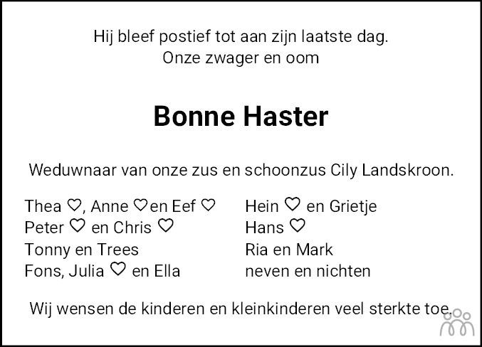 Overlijdensbericht van Bonne Haster in Bolswards Nieuwsblad