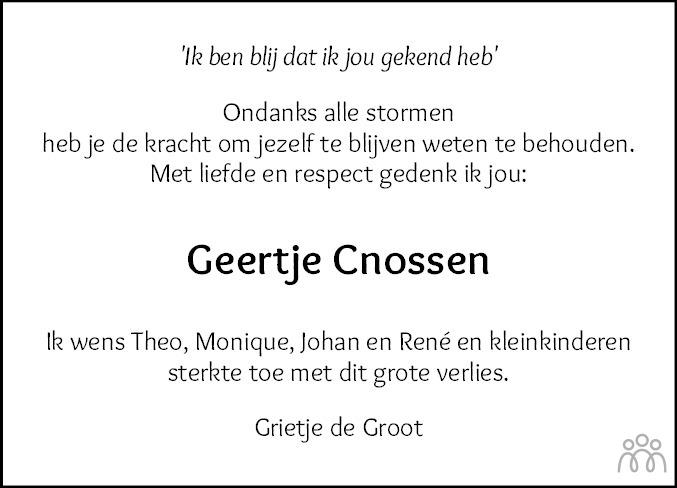 Overlijdensbericht van Geertje Cnossen in Sneeker Nieuwsblad