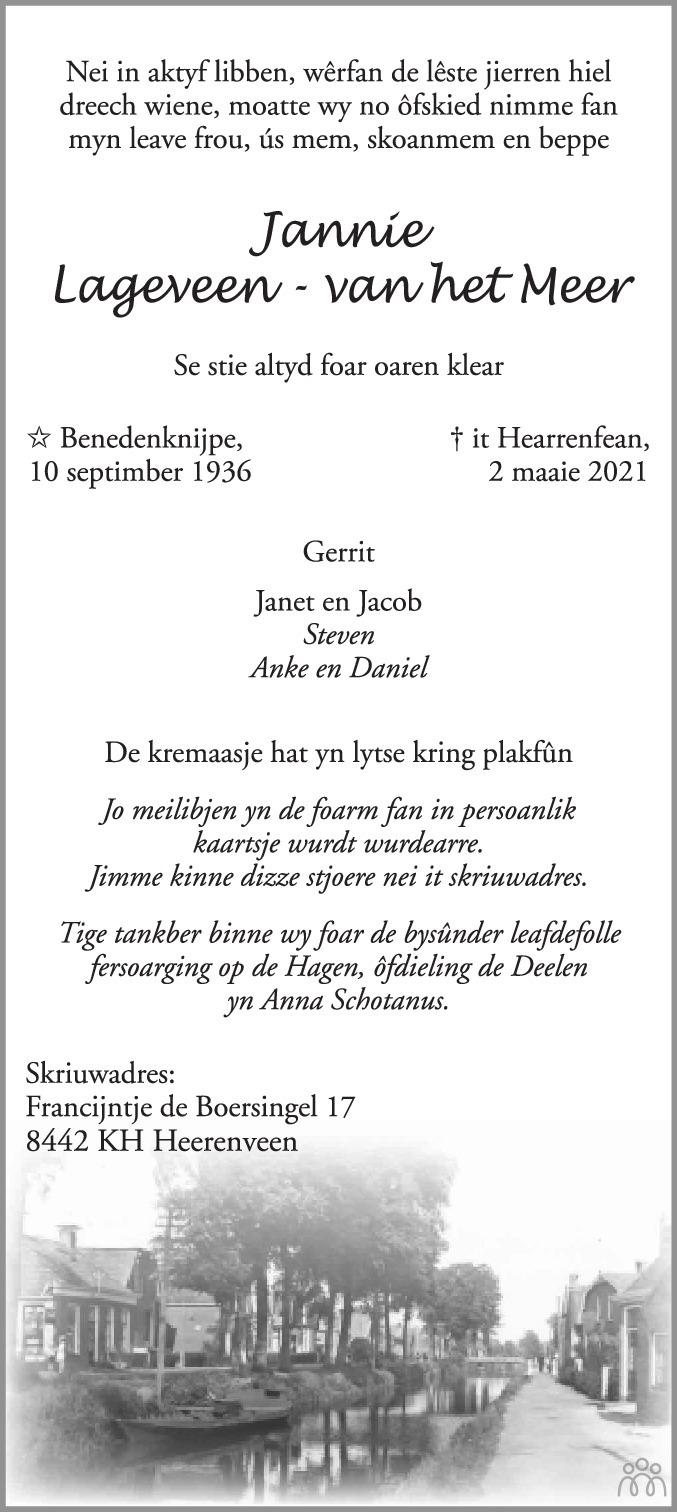 Overlijdensbericht van Jannie Lageveen-van het Meer in Heerenveense Courant