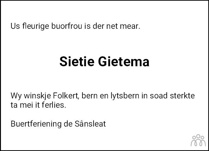 Overlijdensbericht van Sietie Gietema-Reijenga in Sneeker Nieuwsblad