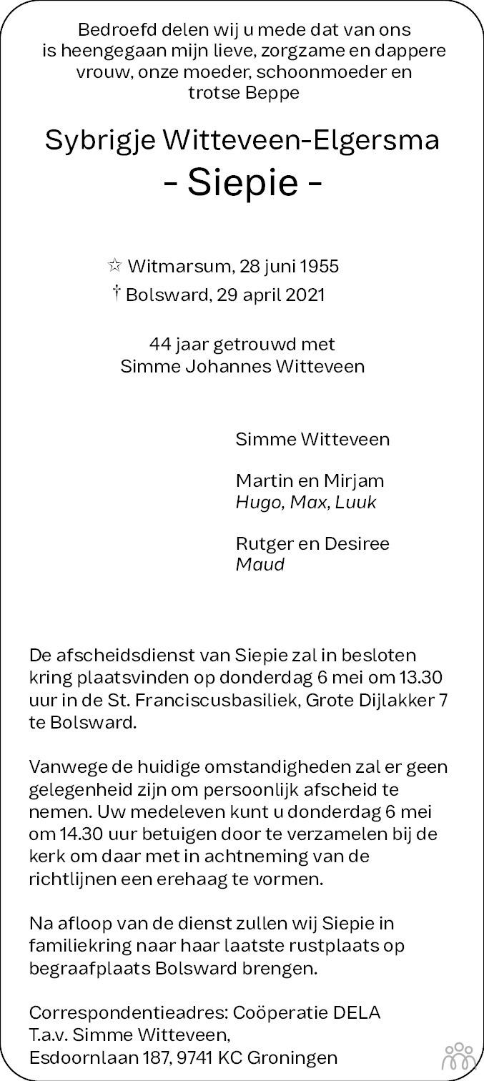 Overlijdensbericht van Sybrigje (Siepie) Witteveen-Elgersma in Bolswards Nieuwsblad