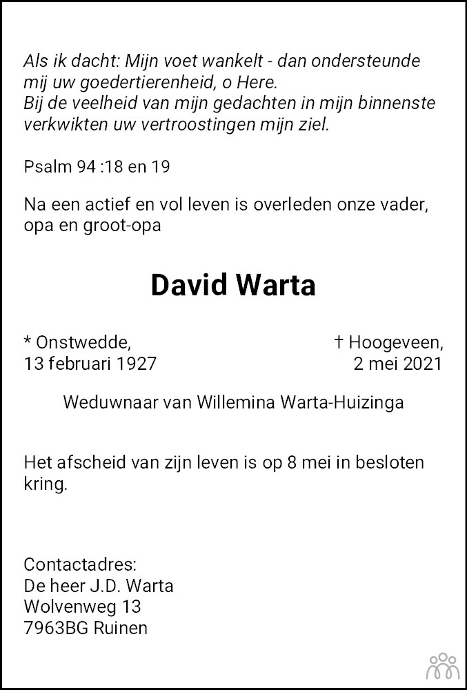 Overlijdensbericht van David Warta in Dagblad van het Noorden