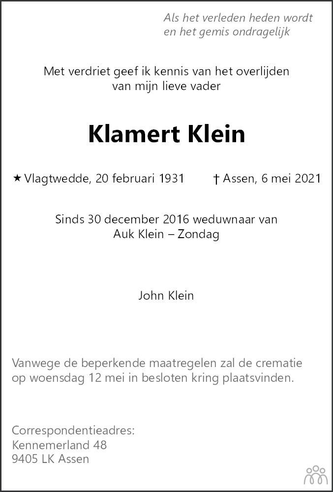 Overlijdensbericht van Klamert Klein in Dagblad van het Noorden