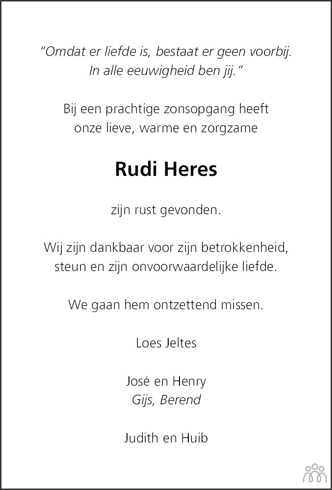 Overlijdensbericht van Ruurd Harm (Rudi) Heres in Dagblad van het Noorden