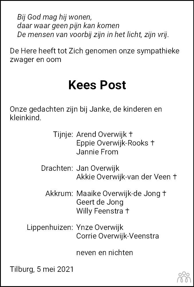 Overlijdensbericht van Cornelis (Kees) Post in Leeuwarder Courant