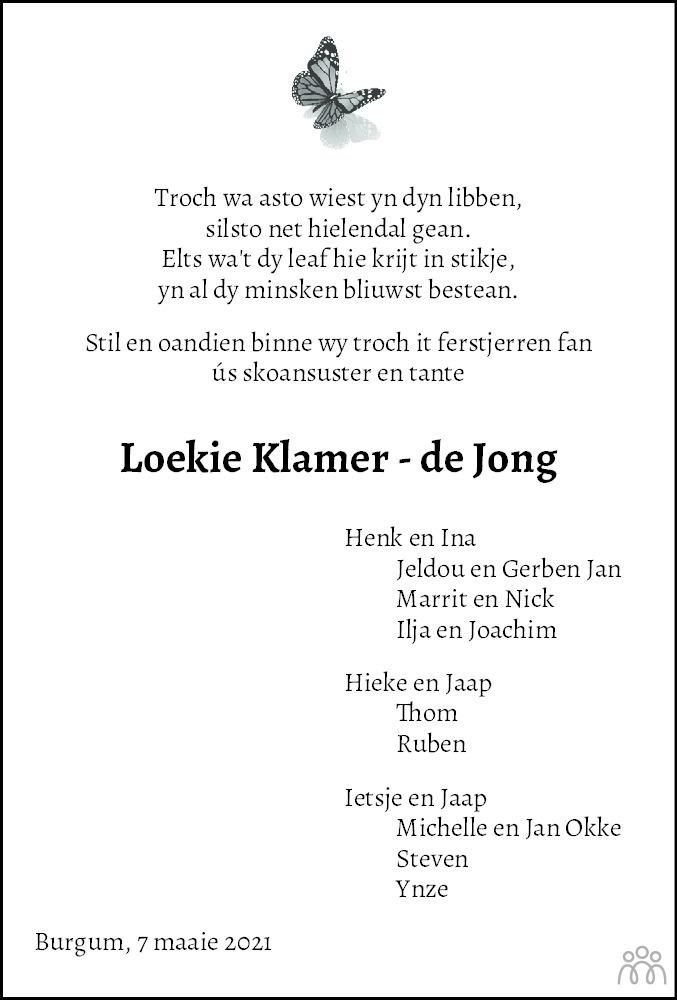 Overlijdensbericht van Loekie Klamer-de Jong in Leeuwarder Courant