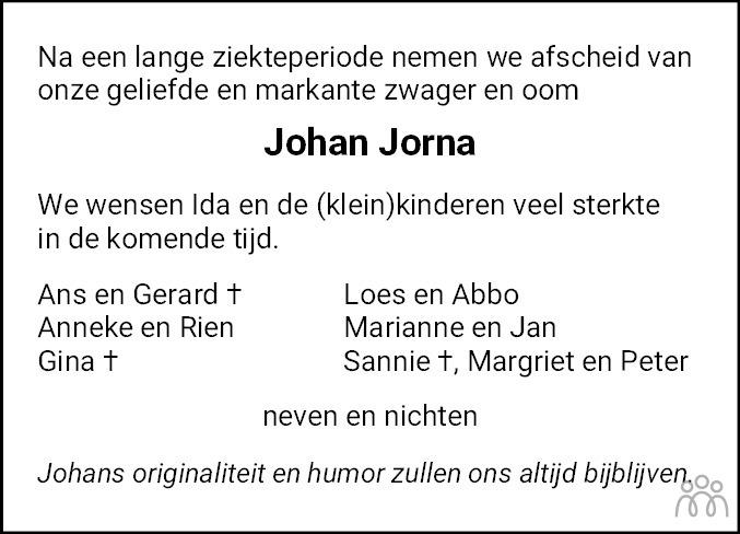 Overlijdensbericht van Johan Jorna in Leeuwarder Courant