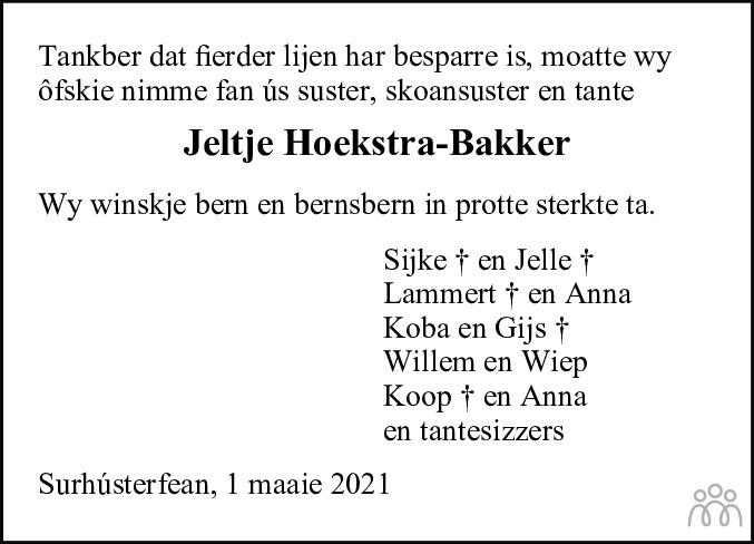 Overlijdensbericht van Jeltje Hoekstra-Bakker in De Feanster