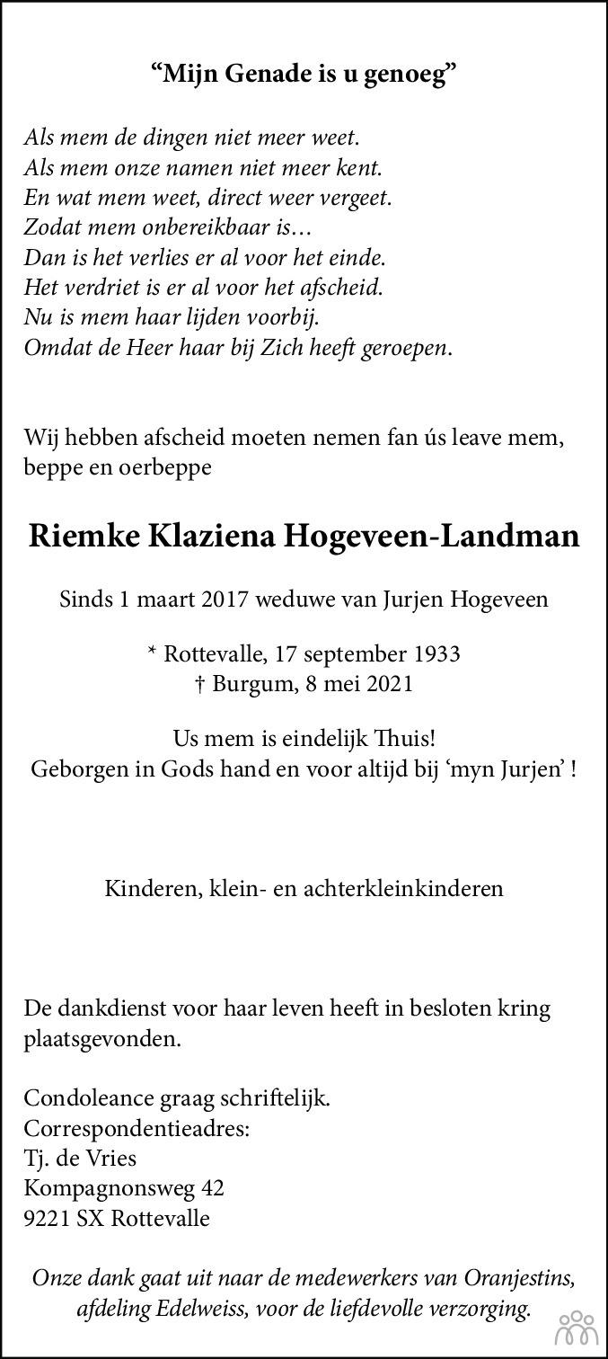 Overlijdensbericht van Riemke Klaziena Hogeveen-Landman in Friesch Dagblad