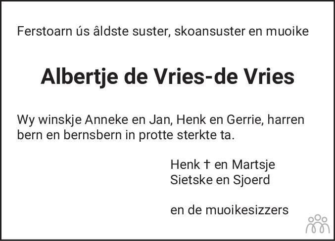Overlijdensbericht van Albertje de Vries-de Vries in Drachtster Courant