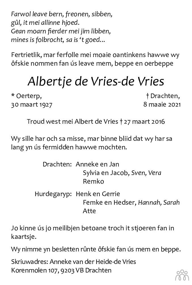 Overlijdensbericht van Albertje de Vries-de Vries in Leeuwarder Courant