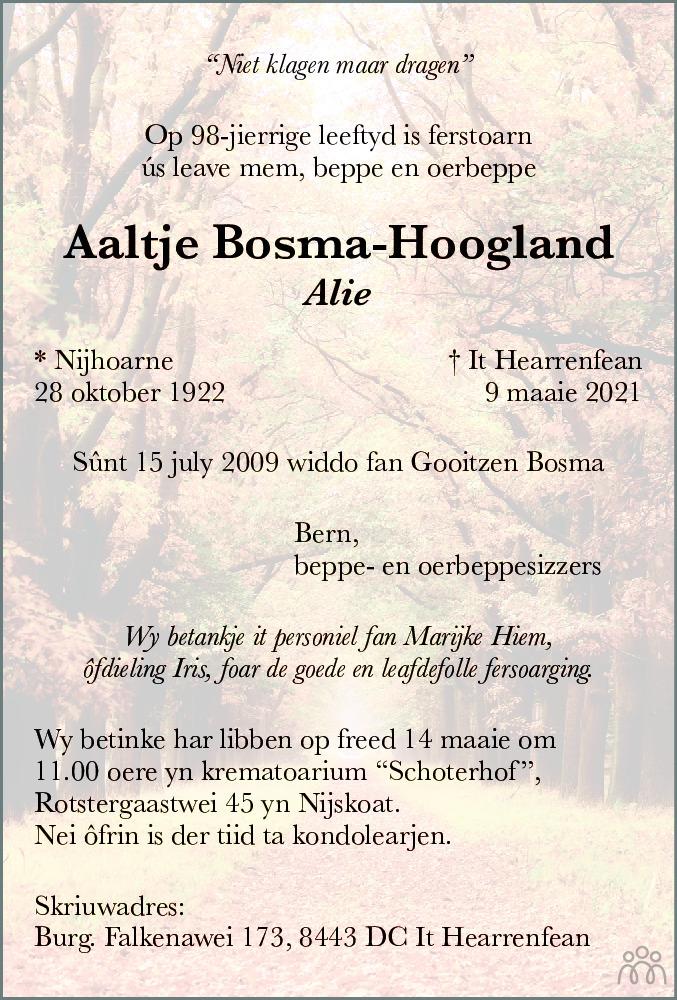 Overlijdensbericht van Aaltje (Alie) Bosma-Hoogland in Leeuwarder Courant