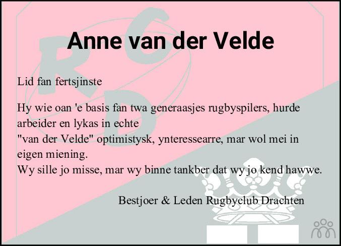 Overlijdensbericht van Anne van der Velde in Drachtster Courant