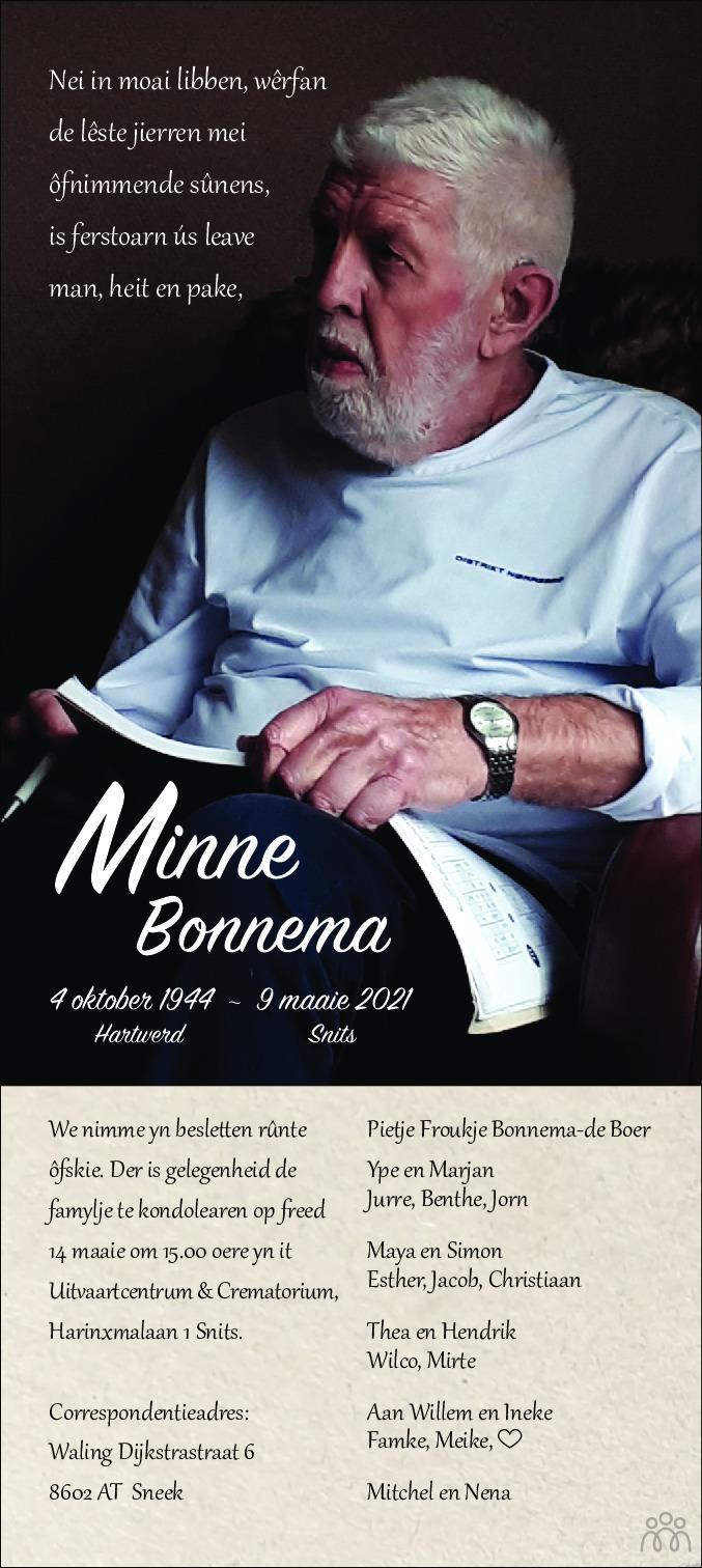 Overlijdensbericht van Minne Bonnema in Leeuwarder Courant