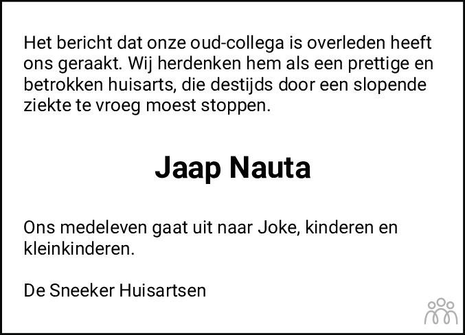 Overlijdensbericht van Jacob (Jaap) Nauta in Sneeker Nieuwsblad