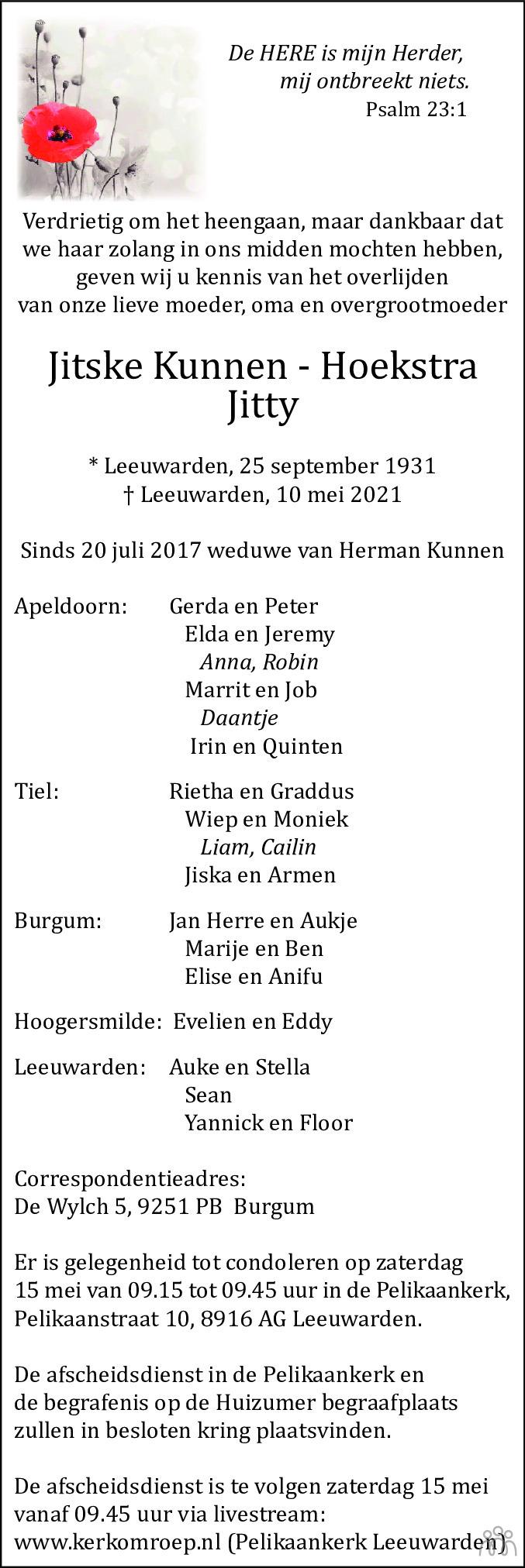 Overlijdensbericht van Jitske (Jitty) Kunnen-Hoekstra in Leeuwarder Courant