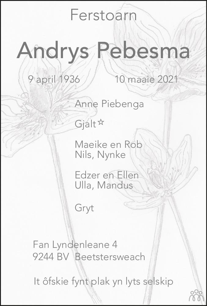 Overlijdensbericht van Andrys Pebesma in Leeuwarder Courant