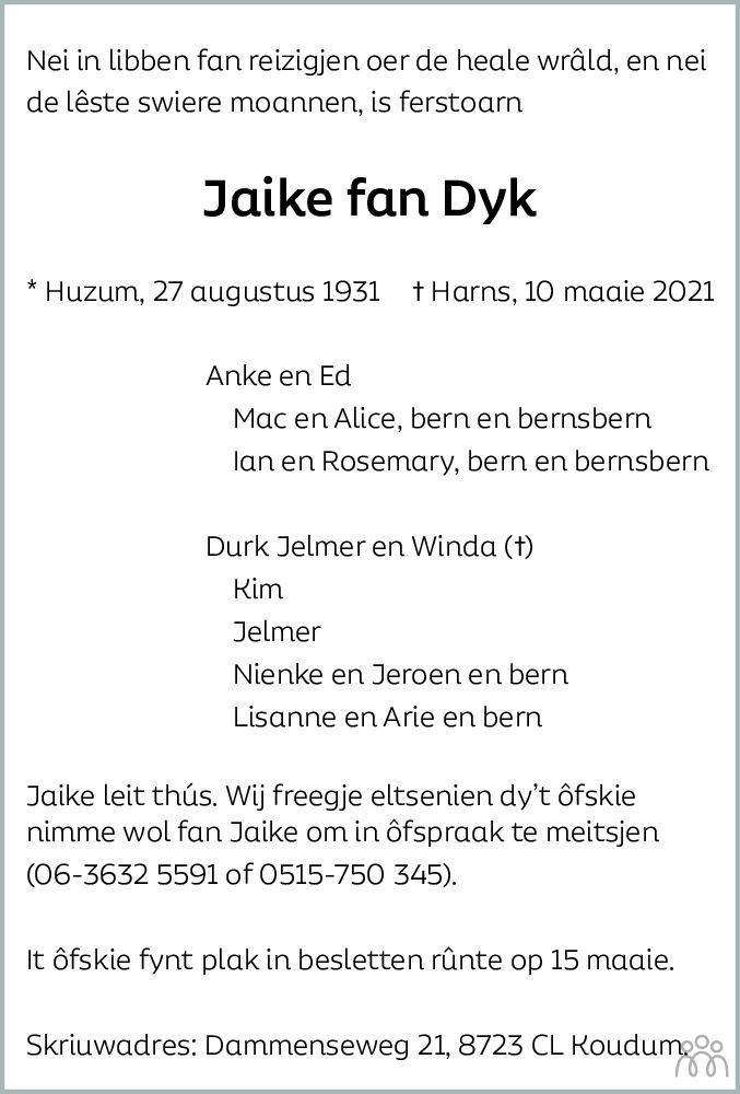 Overlijdensbericht van Jaike fan Dyk in Leeuwarder Courant