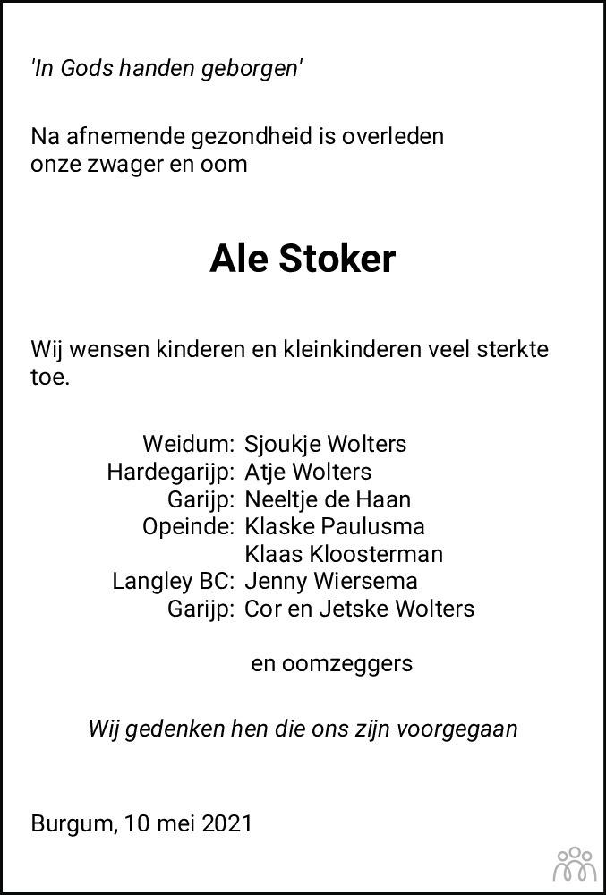 Overlijdensbericht van Ale Stoker in Friesch Dagblad