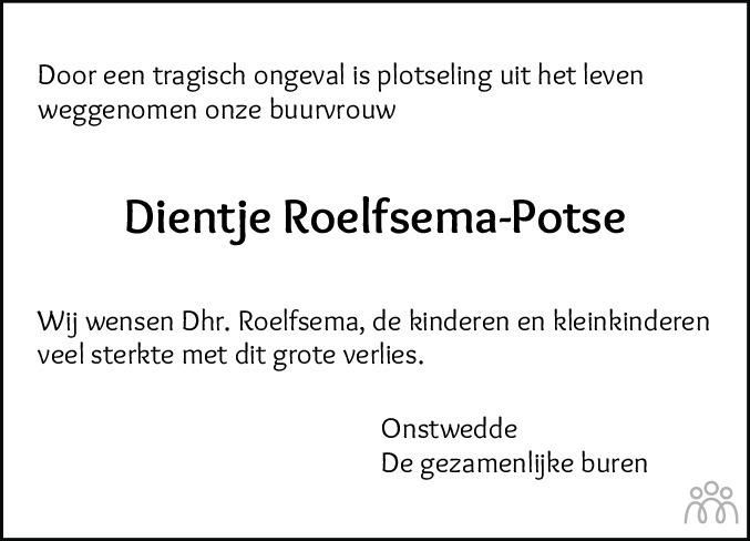 Overlijdensbericht van Berendientje Zwaantientje (Dientje) Roelfsema-Potse in Kanaalstreek Ter Apeler Courant