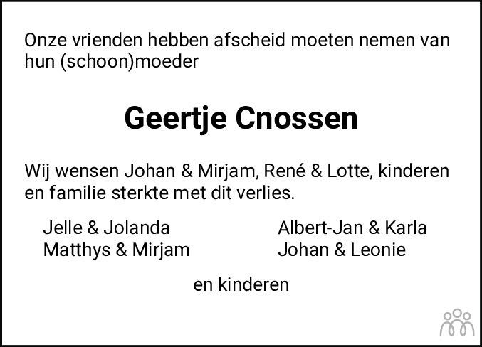 Overlijdensbericht van Geertje Cnossen in Jouster Courant Zuid Friesland