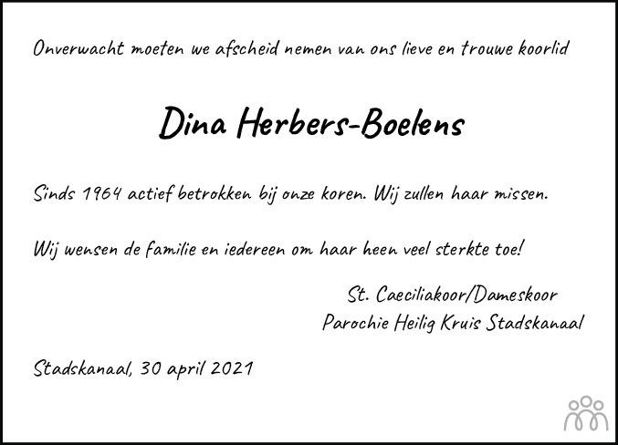 Overlijdensbericht van Gerritdiena Catharina (Dina) Herbers-Boelens in Kanaalstreek Ter Apeler Courant