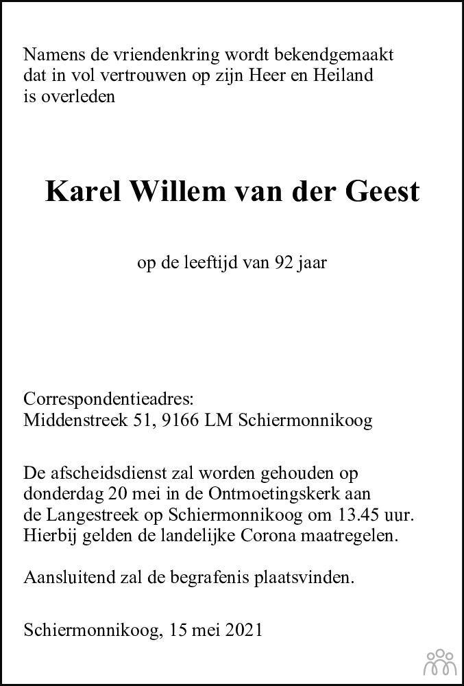 Overlijdensbericht van Karel Willem van der Geest in Friesch Dagblad