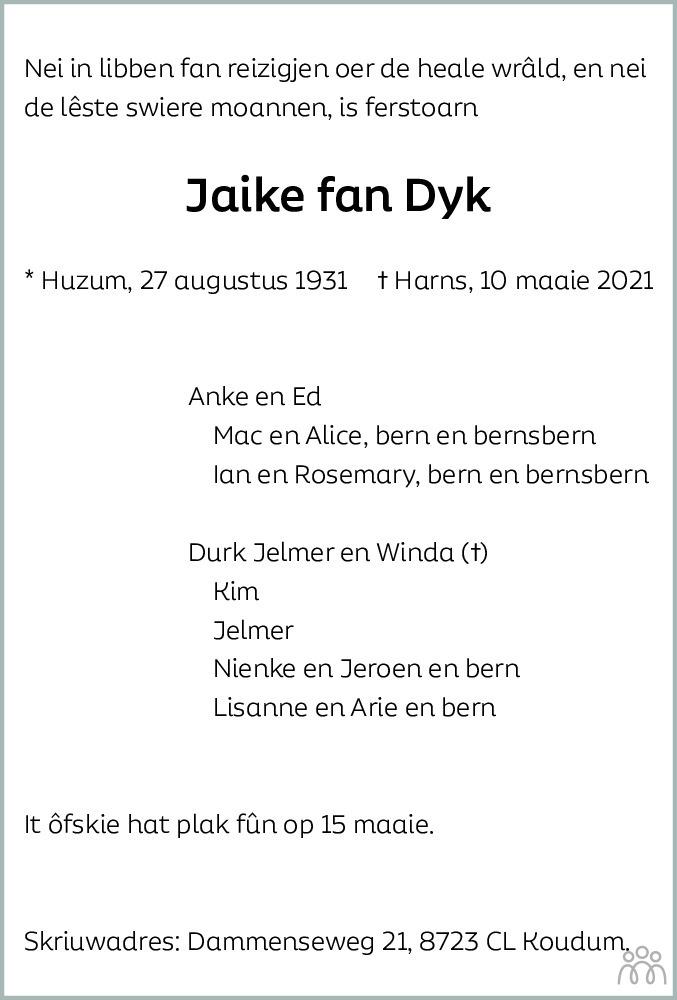 Overlijdensbericht van Jaike fan Dyk in Balkster Courant