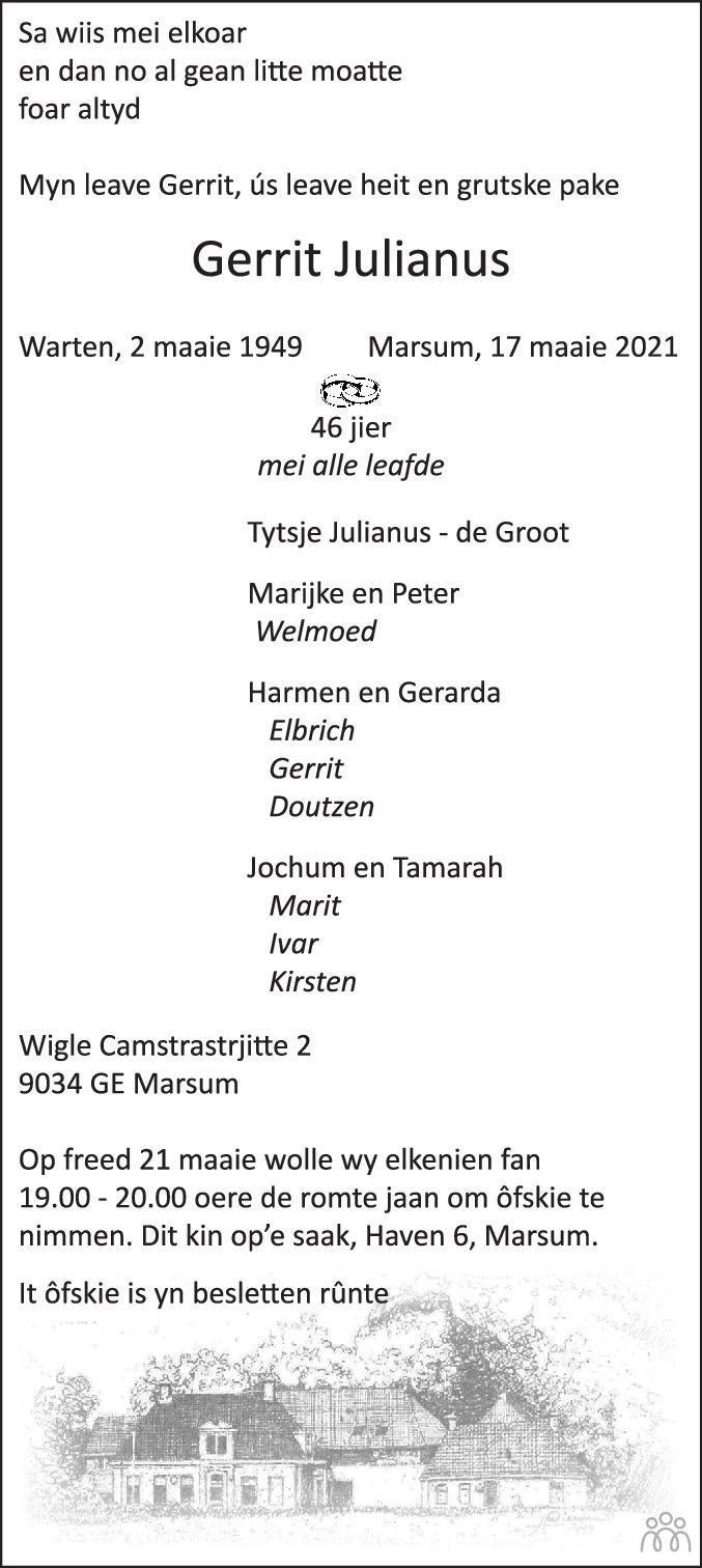 Overlijdensbericht van Gerrit Julianus in Leeuwarder Courant
