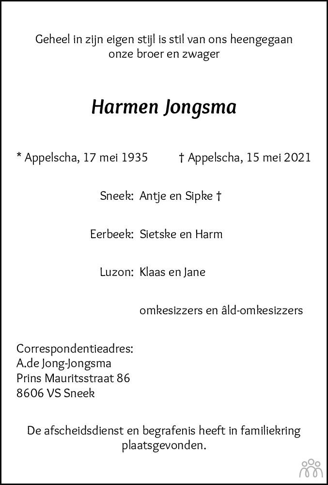 Overlijdensbericht van Harmen Jongsma in Nieuwe Ooststellingwerver