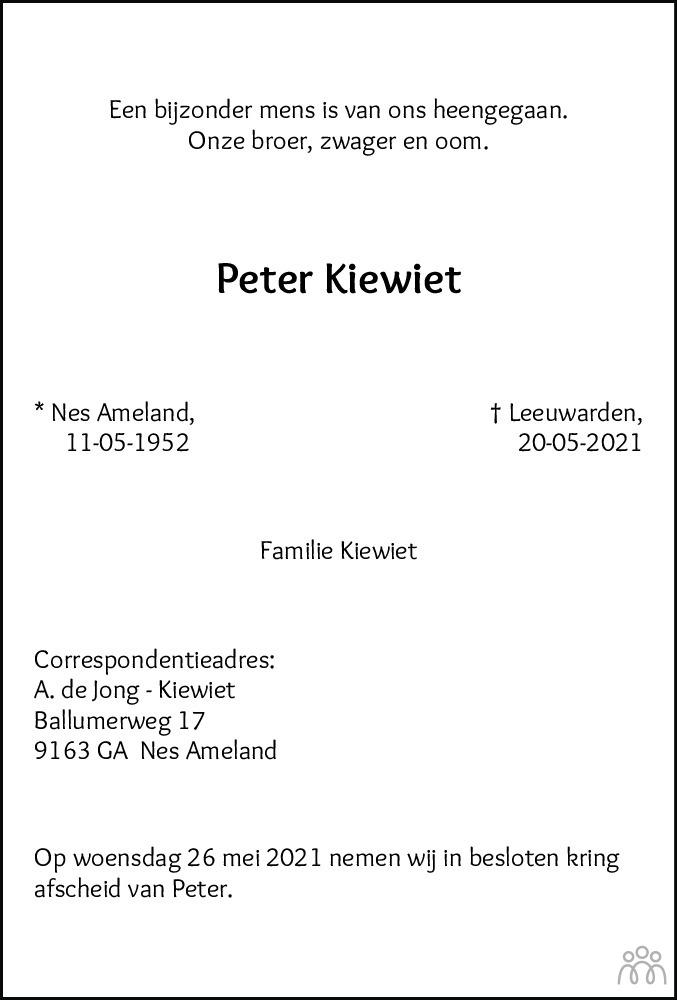 Overlijdensbericht van Peter Kiewiet in Leeuwarder Courant