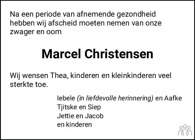 Overlijdensbericht van Marcel Christensen in Leeuwarder Courant