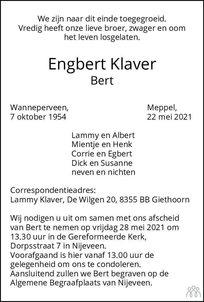 Overlijdensbericht van Engbert (Bert) Klaver in Meppeler Courant