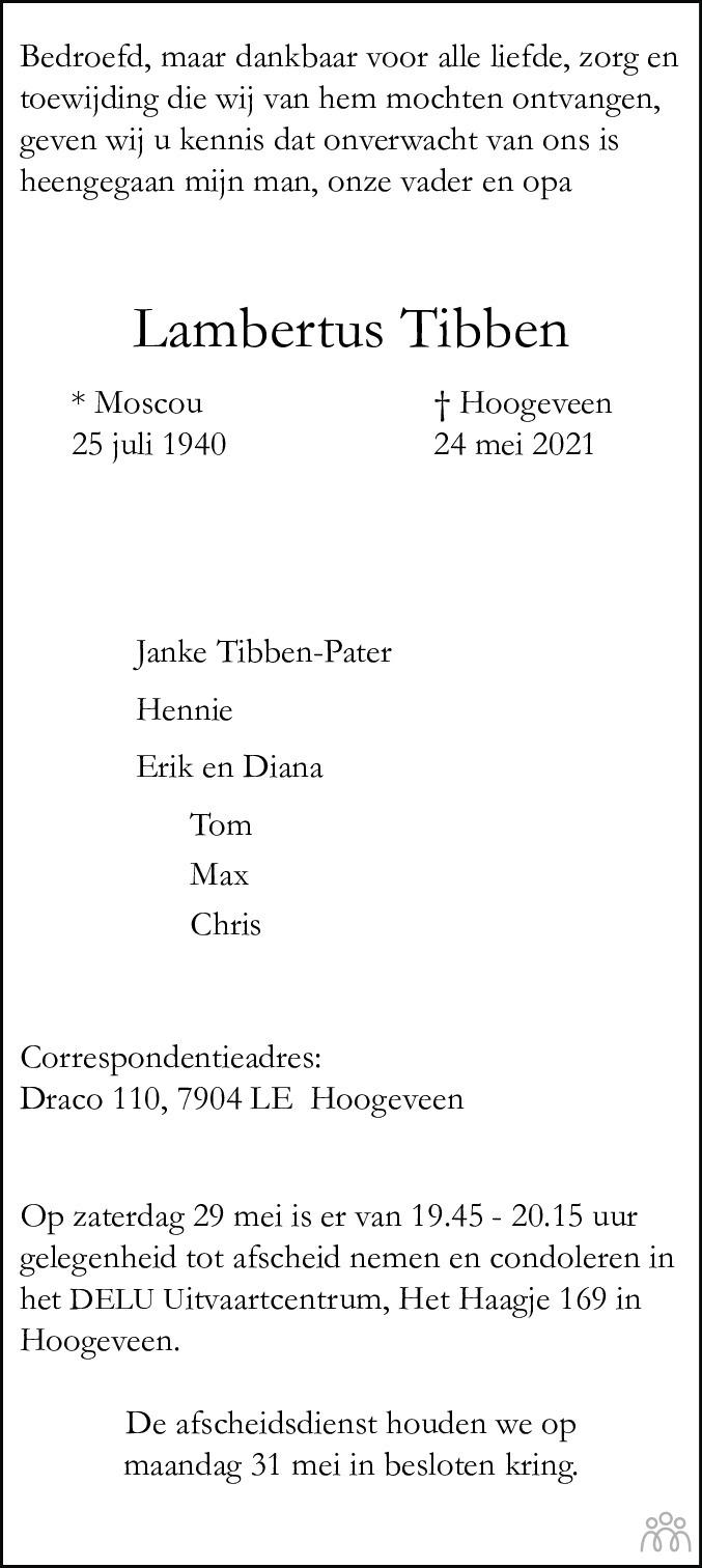 Overlijdensbericht van Lambertus (Bertus) Tibben in Hoogeveensche Courant